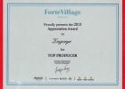 Памятный диплом от Forte Village Resort как «Лучшему продавцу»